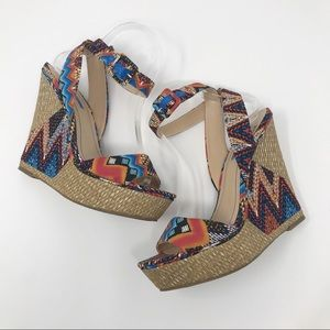 BCBGeneration Raquel Ankle Strap Wedge Sandals 9B